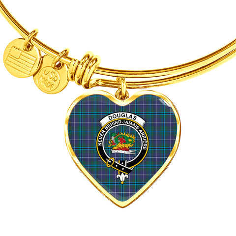 Douglas Modern  Tartan Crest Heart Bangle HJ4