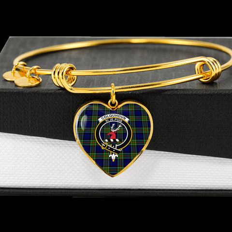 Colquhoun Modern  Tartan Crest Heart Bangle HJ4
