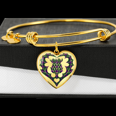 Image of Armstrong Modern Tartan Bangle Thistle Heart Shape TH8