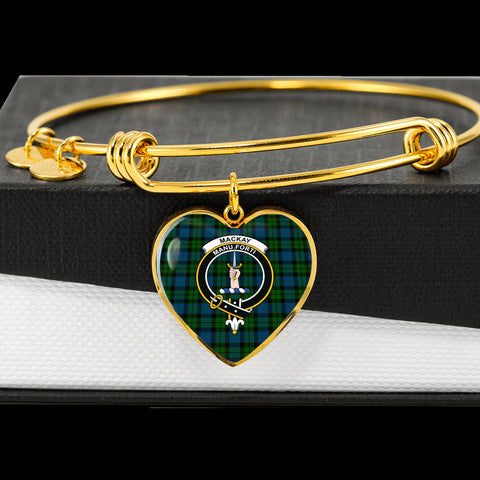 Image of Mackay Mordern Tartan Crest Heart Bangle HJ4