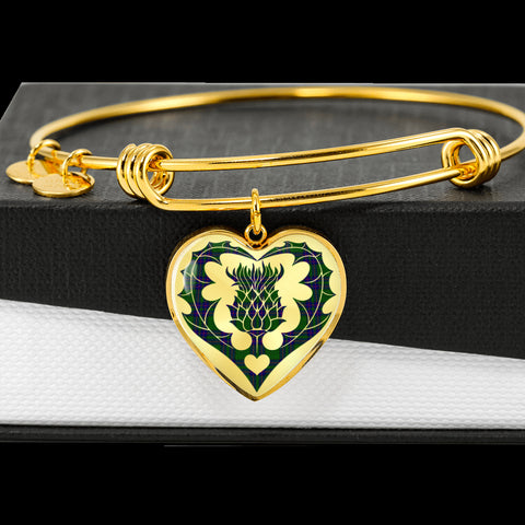 Lockhart Modern Tartan Bangle Thistle Heart Shape TH8