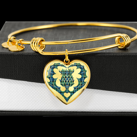 Campbell Ancient 01 Tartan Bangle Thistle Heart Shape TH8