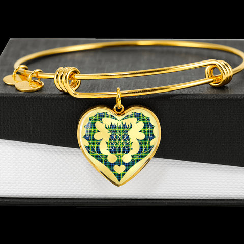 Campbell of Breadalbane Ancient Tartan Bangle Thistle Heart Shape TH8