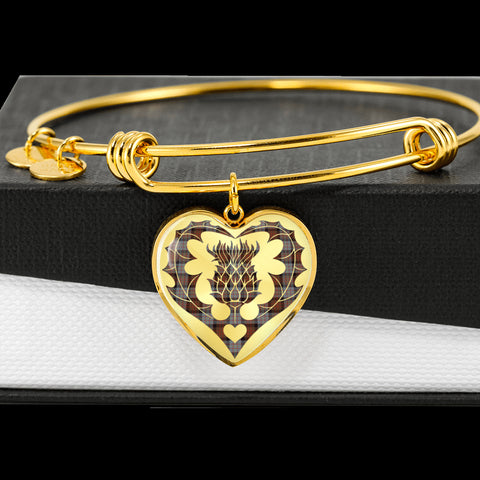 Cameron of Erracht Weathered Tartan Bangle Thistle Heart Shape TH8