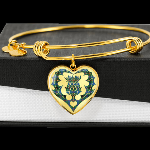 Davidson Ancient Tartan Bangle Thistle Heart Shape TH8