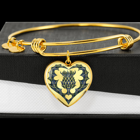 Cameron of Erracht Ancient Tartan Bangle Thistle Heart Shape TH8