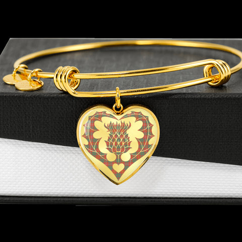 Image of Bruce Ancient Tartan Bangle Thistle Heart Shape TH8