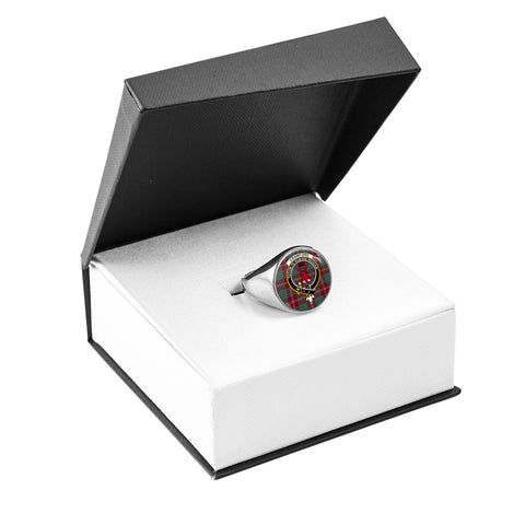 Image of Crawford Modern Crest Ring Silver In Box