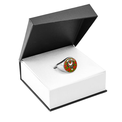 Leask Crest Ring Silver In Box