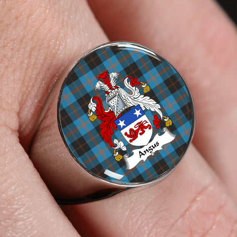 Angus Ancient Tartan Crest Ring | scottishclans.co