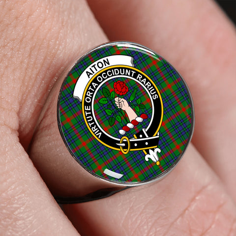 Aiton Tartan Ring Silver On Finger