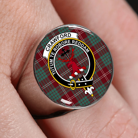 Image of Crawford Modern Tartan Crest Ring | scottishclans.co