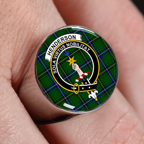Image of Henderson Modern Tartan Ring Silver On Finger