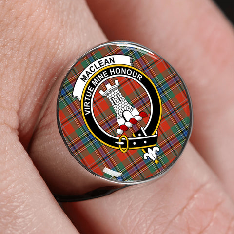 MacLean of Duart Ancient Tartan Ring Silver On Finger