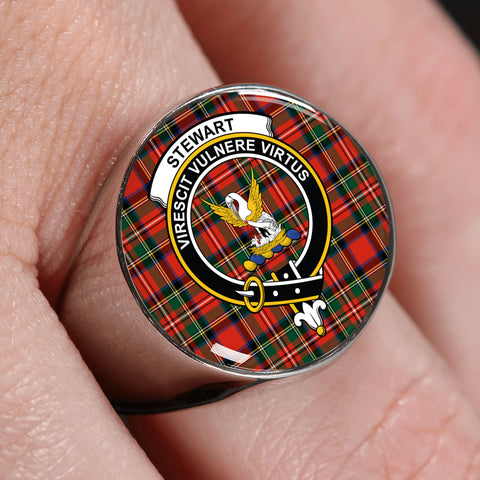 Image of Stewart Tartan Crest Ring | scottishclans.co
