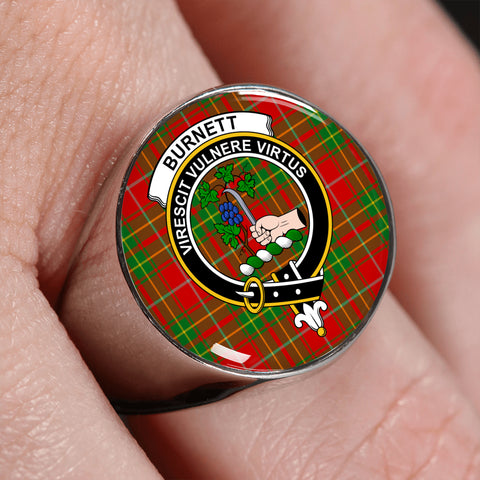 Burnett Ancient Tartan Crest Ring | scottishclans.co