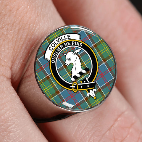 Image of Colville district Tartan Crest Ring | scottishclans.co