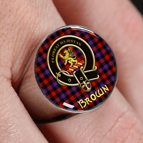 Brown Modern Tartan Crest Ring | scottishclans.co