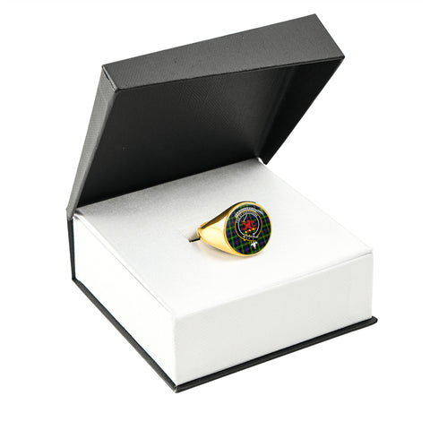 Image of Farquharson Modern Tartan Ring Gold In Box