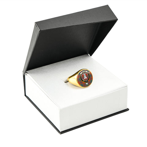 Image of MacLean of Duart Ancient Tartan Ring Gold In Box