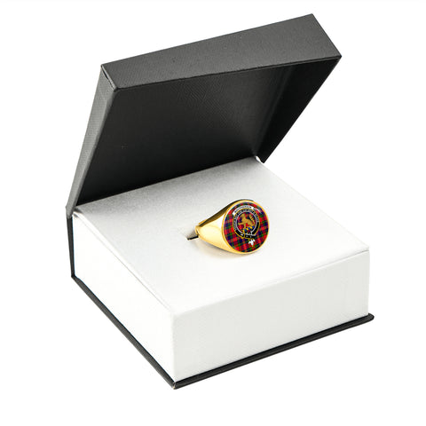 Image of MacPherson Modern Tartan Ring Gold In Box