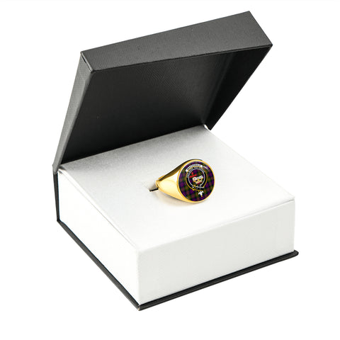 Image of MacDonald Tartan Ring Gold In Box