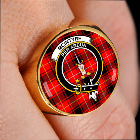 Image of McIntyre Modern crest ring tartan gold on finger