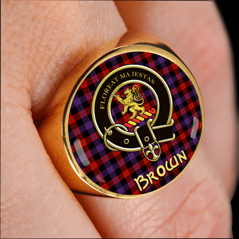 Brown Modern Tartan Crest Ring Th8