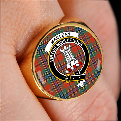 Image of MacLean of Duart Ancient crest ring tartan gold on finger