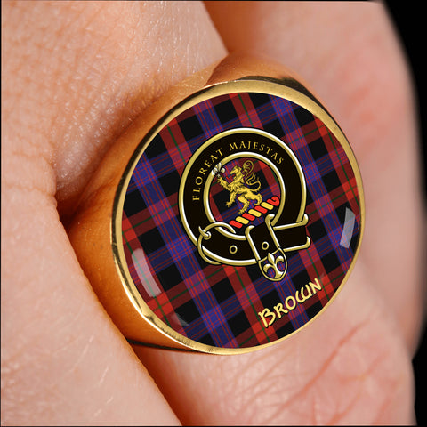Image of Brown Modern Tartan Crest Ring Th8