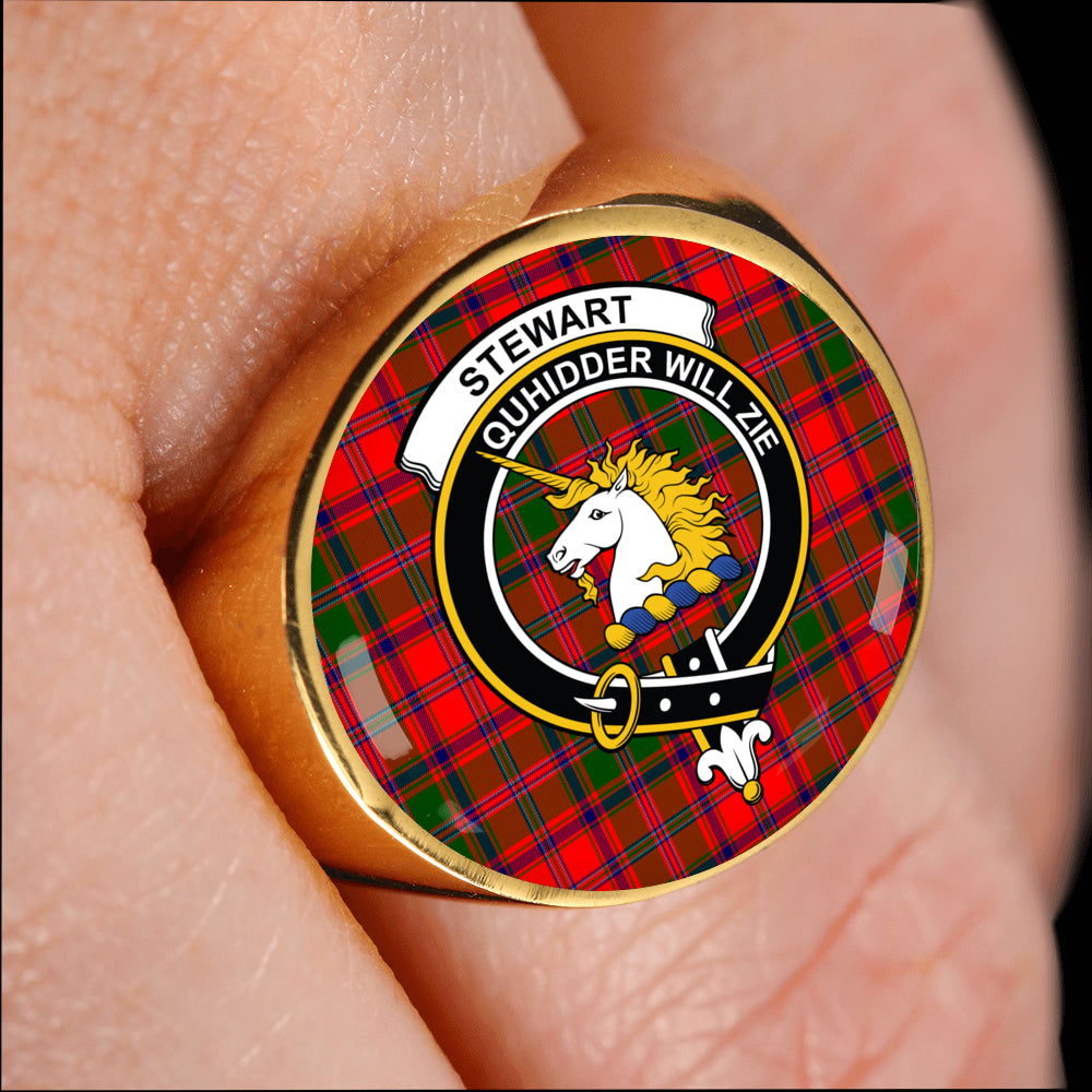 d7deed1ed8f741 Stewart of Appin Tartan Ring - Crest Ring Style – Scottish Clans