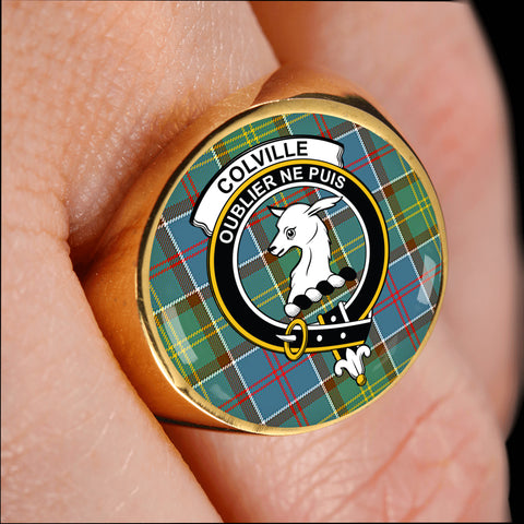 Image of Colville district crest ring tartan gold on finger