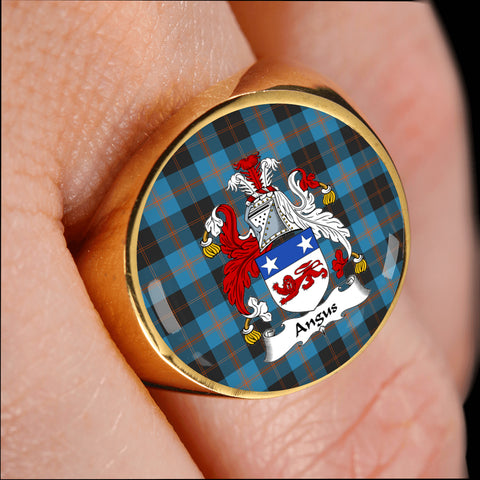 Image of Angus Ancient crest ring tartan gold on finger
