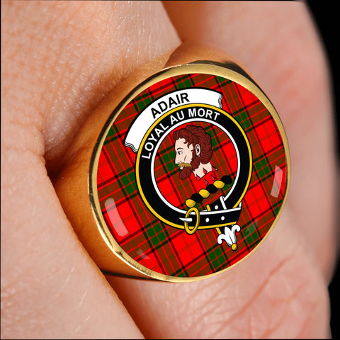 Image of Adair crest ring tartan gold on finger