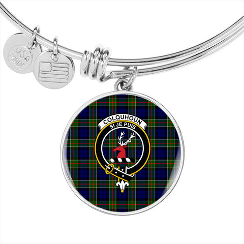 Colquhoun Modern  Tartan Crest Circle Bangle