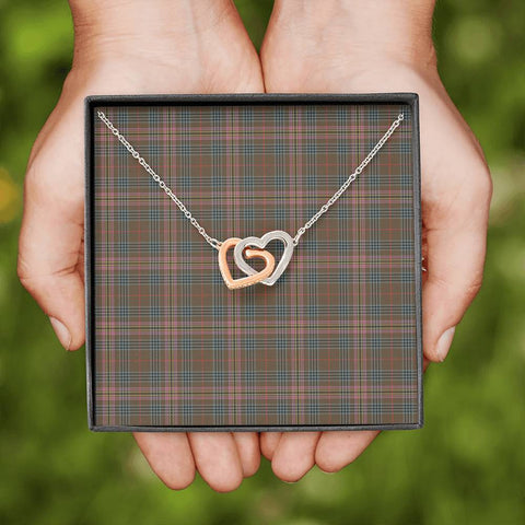 Image of Kennedy Weathered Tartan Necklace - Interlocking Hearts A7