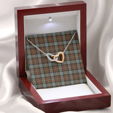 Fergusson Weathered Tartan Necklace - Interlocking Hearts A7