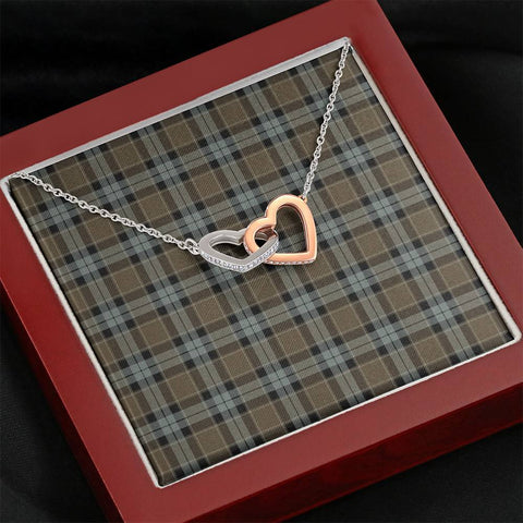 Graham of Menteith Weathered Tartan Necklace - Interlocking Hearts A7