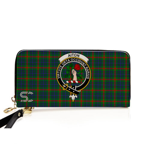 Image of Aiton Crest Tartan Zipper Wallet