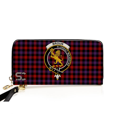 Image of Broun Crest Tartan Zipper Wallet