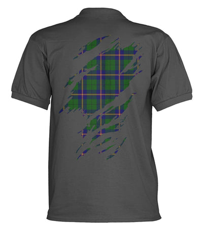 Carmichael Tartan Polo Shirt In Me Clan Badge K7