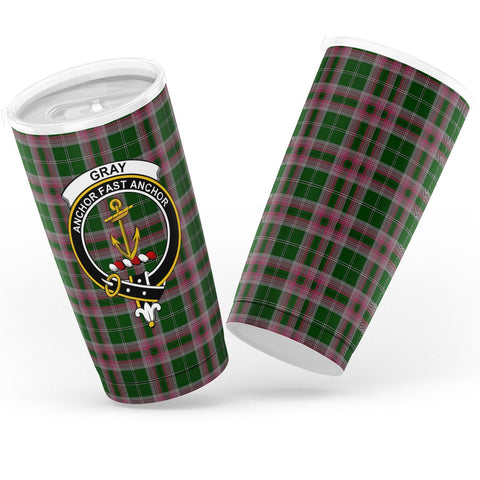 Gray Tartan Tumbler, Scottish Gray Plaid Insulated Tumbler - BN