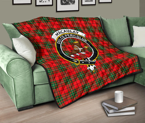 Image of MacAulay Modern Tartan Clan Badge Premium Quilt TH8