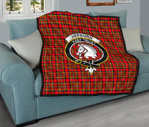 Hepburn Tartan Clan Badge Premium Quilt TH8