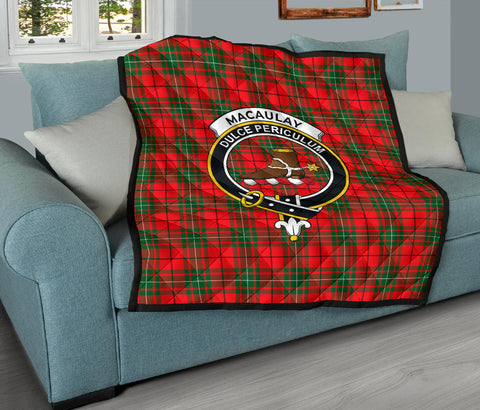 MacAulay Modern Tartan Clan Badge Premium Quilt TH8
