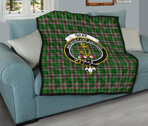 Image of Gray Hunting Tartan Clan Badge Premium Quilt TH8