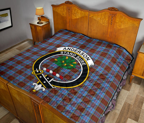 Image of Anderson Modern Tartan Clan Badge Premium Quilt TH8