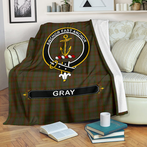 Image of Gray Crest Tartan Blanket | Tartan Home Decor | Scottish Clan