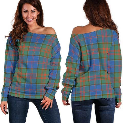 Image of Tartan Womens Off Shoulder Sweater - Stewart Of Appin Hunting Ancient