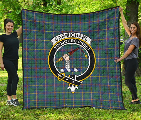 Image of Carmichael Ancient Tartan Clan Badge Premium Quilt | Scottishclans.co